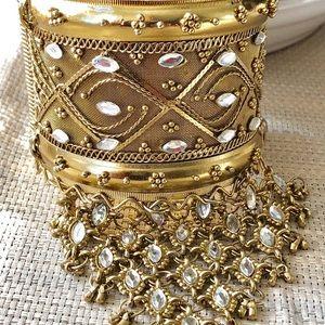 Jewelry - Gold Cuff & Ring Slave Bracelet